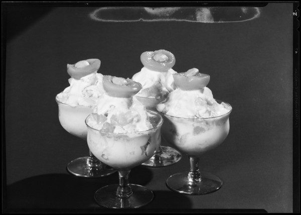 Apricot sundaes, Southern California, 1930