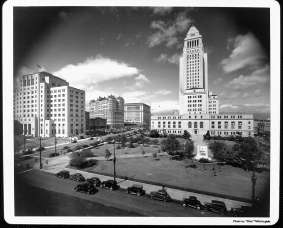 A view of the Los Angeles Civic Center from the corner of Spring Street and First Street