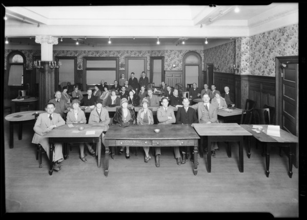 Group taking realty examination at Wesby Terrace Hotel, Southern California, 1929