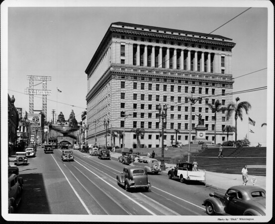 Looking north at the Hall of Justice between First Street and Temple Street