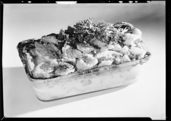 Glass dish of scalloped potatoes, Southern California, 1931