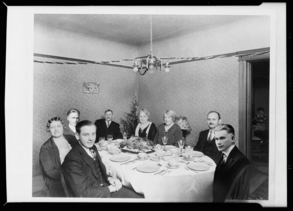 Finished copy of Christmas dinner, Southern California, 1929