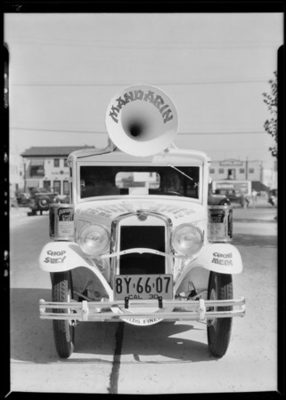 Mandarin Food Products car, Southern California, 1930