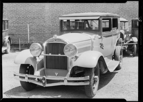 Wrecked Hudson at Walter M. Murphy Motors, Southern California, 1929