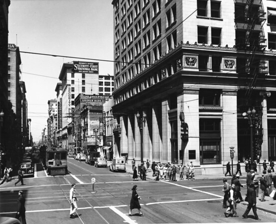 Spring Street looking north from Sixth Street, Bank of America at 650 South Spring Street, Security First National Bank Building at 510 South Spring Street, Rowan Building, art galleries
