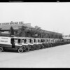 Fleet of Log Cabin Bread trucks, Southern California, 1930