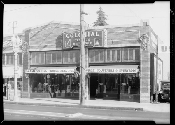 Opening new store on Pacific Avenue, Southern California, 1929