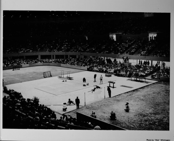 Los Angeles Memorial Sports Arena, interior view, Memorial Day dedication ceremony, track and field demonstration