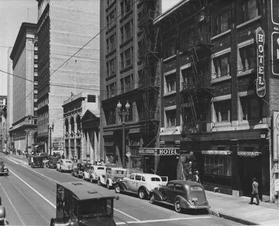 Spring Street looking north east from Seventh Street, Bank of America, Hotel Senator, W. Ross Campbell Company