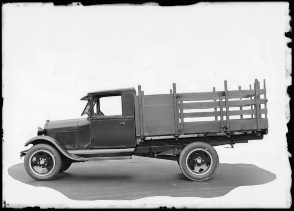 Stake body Ford truck, Southern California, 1929