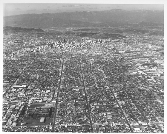 Aerial view of Los Angeles basin, Goodyear plant in foreground