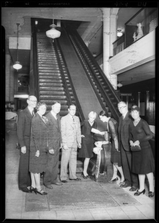 New escalators, May Company, Southern California, 1929