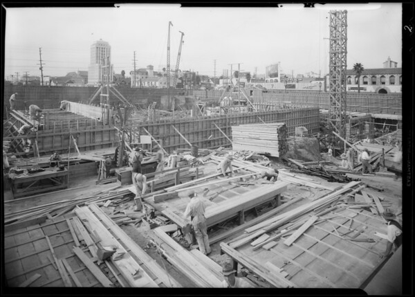 Pellissier Building progress, Los Angeles, CA, 1931