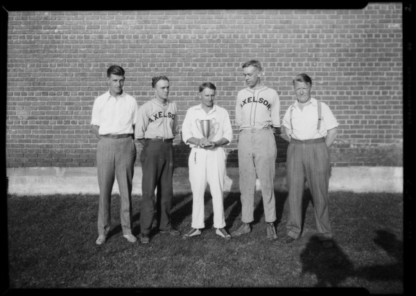 Axelson indoor baseball team at Huntington Park High School, Huntington Park, CA, 1929