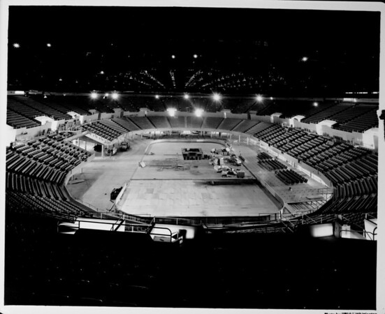 Los Angeles Memorial Sports Arena, interior view, empty in preparation for Memorial Day dedication ceremony