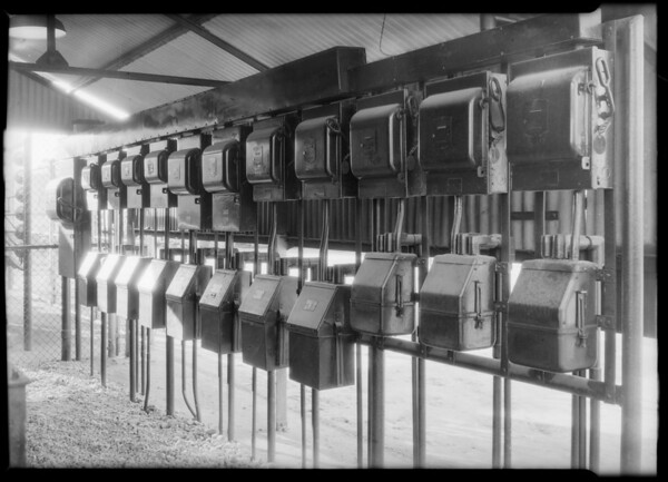 Bank of switches at Richfield plant, Diamond D. Electric, Southern California, 1931