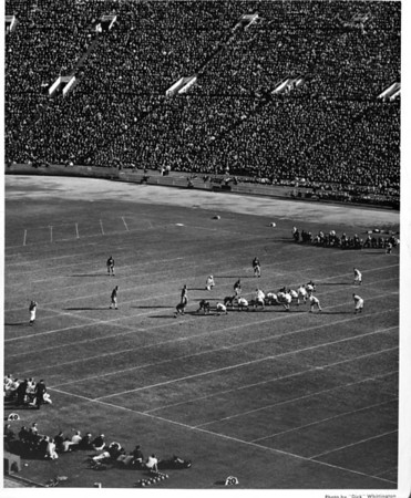 Football game, crowds, at the Coliseum in Exposition Park