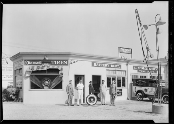 Employees & station, Le Doux Road & Wilshire Boulevard, Beverly Hills, CA, 1930