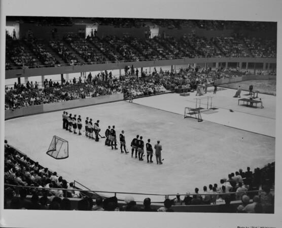 Los Angeles Memorial Sports Arena, interior view, Memorial Day dedication ceremony, half-court hockey game demonstration