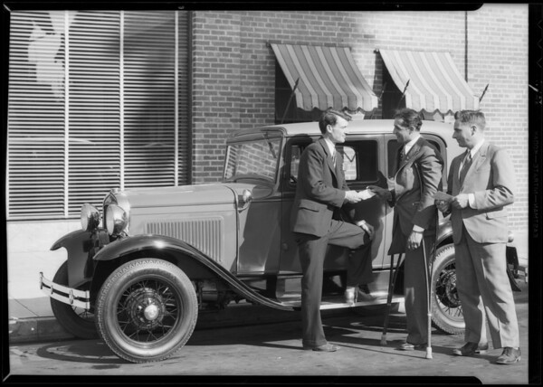Veteran buying Ford on bonus checks, Southern California, 1931