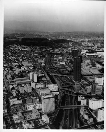 Aerial view facing north over the Harbor Freeway (I-110) in Downtown Los Angeles