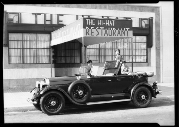 Lincoln in front of Hi-Hat Cafe, Southern California, 1930