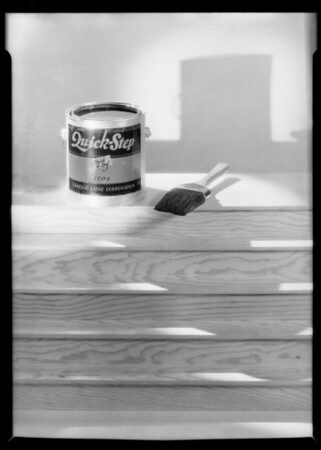 Paint bucket and brush, Quick-Step paint, Southern California, 1929
