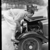 Buster Keaton & Austin car, Southern California, 1930