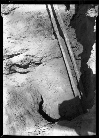 Broken pipe & retaining wall in Holmby Hills, Los Angeles, CA, 1929