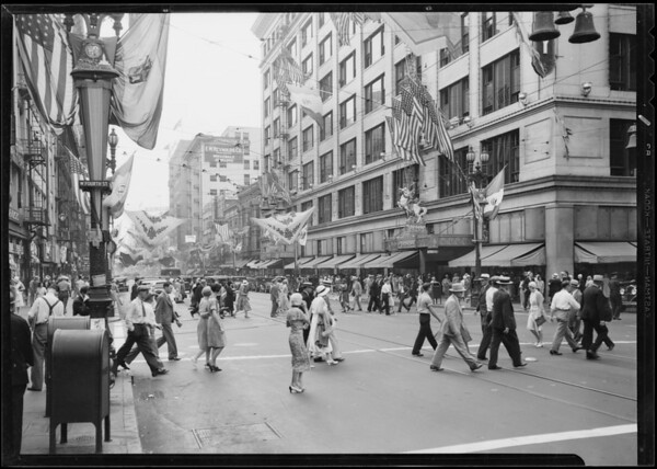 Fiesta decorations, West 4th Street and South Broadway, Los Angeles, CA, 1931