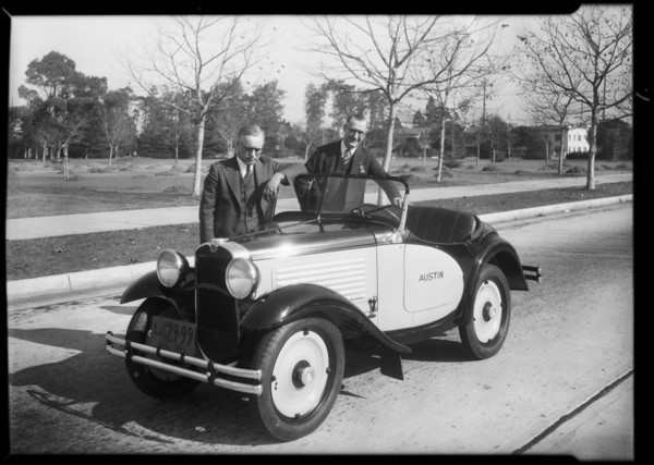 New Austin roadster, Austin Los Angeles Co., Southern California, 1930
