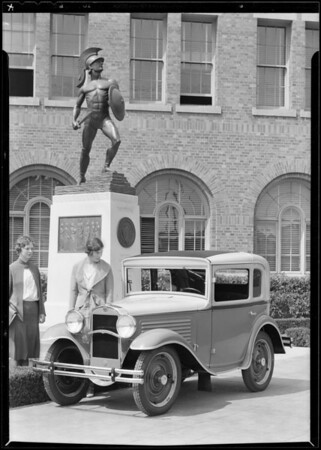 Cars and Marshall Duffield at University of Southern California, Los Angeles, CA, 1930