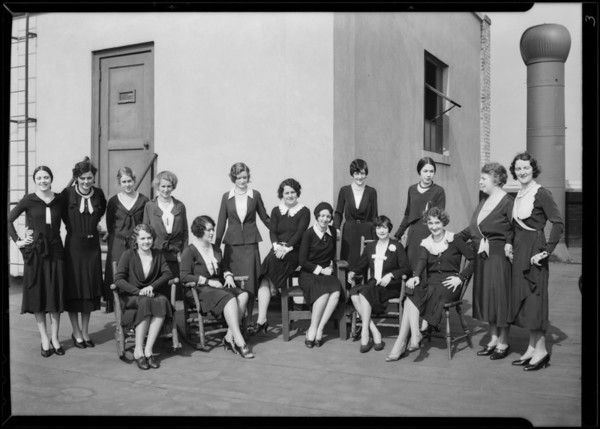 Girls on roof, Broadway Department Store, Los Angeles, CA, 1930