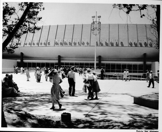 Los Angeles Memorial Sports Arena, exterior view, crowd at main entrance, newly constructed