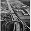 Aerial view facing east over the Garden Grove (22) connector to the Santa Ana Freeway I-5 at the border of Orange (north of the 22) and Santa Ana (south of the 22)