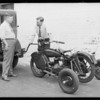 Motorcycle with towing attachment, Southern California, 1929