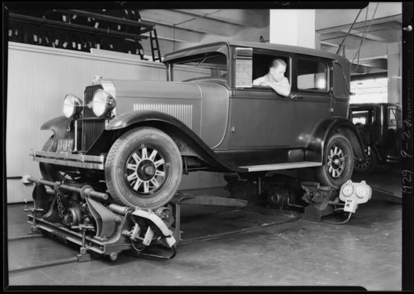 Brake testing machine, Southern California, 1929
