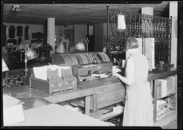 Posting machine, Lee-Gindery Furniture Co., 725 East Colorado Street, Glendale, CA, 1929