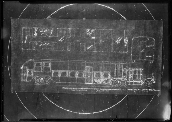 Blueprint of coach, Southern California, 1930