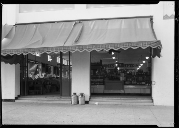 Entrance to Jess Willard's market, Southern California, 1931