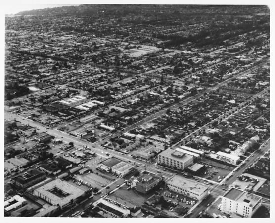 Aerial view looking southwest towards the Pacific Ocean, Douglas Park, Pacific Ocean, Bekins Storage