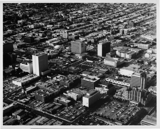 Aerial view facing north over Koreatown, Mid-Wilshire District at Wilshire Boulevard and Vermont Avenue