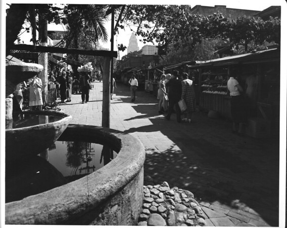 Olvera Street, facing City Hall, shoppers