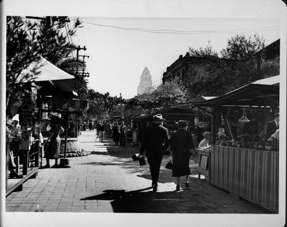 Olvera Street, facing City Hall, shoppers