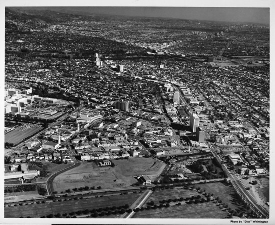 Aerial view of Westwood and the University of California at Los Angeles (UCLA)