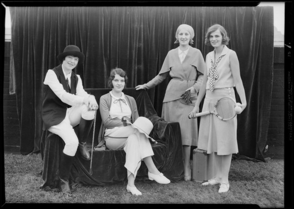 Girls wearing sport clothes from department 12, Los Angeles, CA, 1930
