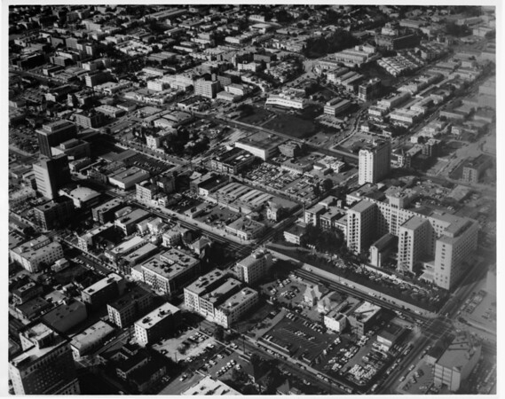Aerial view over downtown Los Angeles at Wilshire Boulevard and Witmer Street just east of MacArthur Park