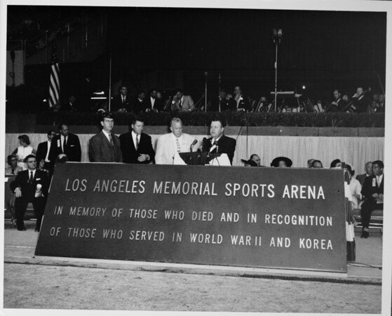 Los Angeles Memorial Sports Arena, interior view, Memorial Day dedication ceremony