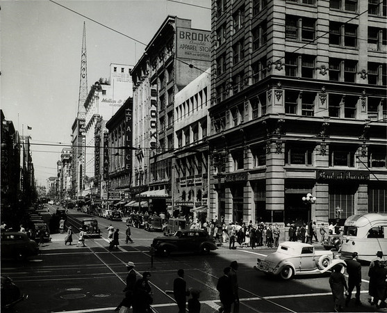 Looking north on Broadway from West Seventh Street in Downtown Los Angeles