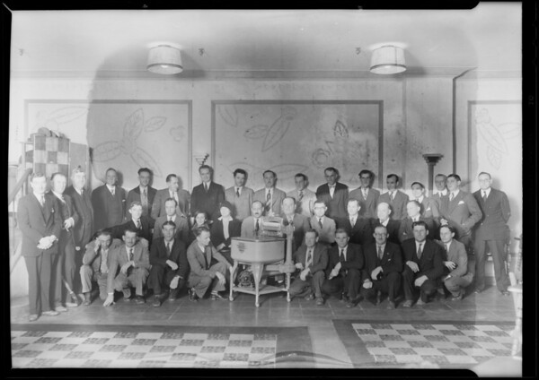 Salesmen group at Figueroa Hotel, Los Angeles, CA, 1930